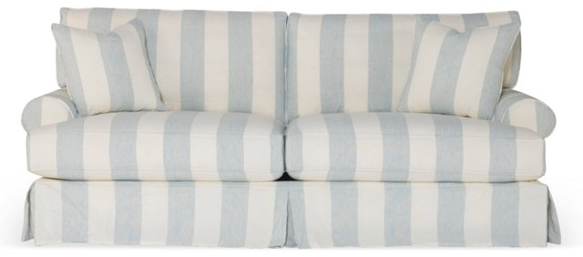 "Comfy 90"" Slipcovered Sofa, Blue/White"