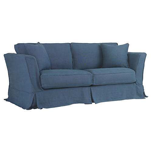 Loft Slipcovered Sofa, Indigo Linen