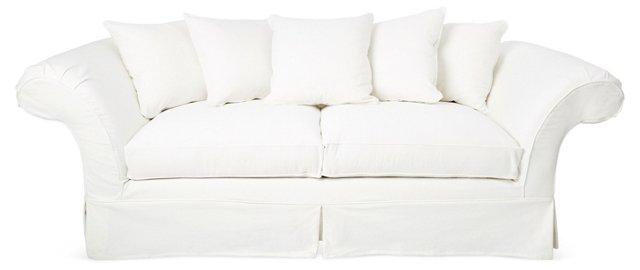 """Grace 97"""" Slipcovered Sofa, White"""