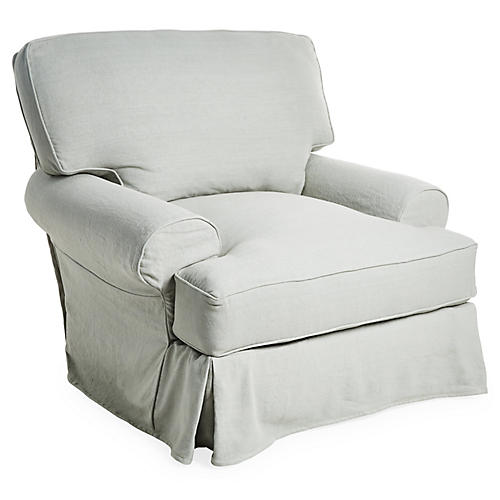 Comfy Slipcovered Club Chair, Seafoam Linen