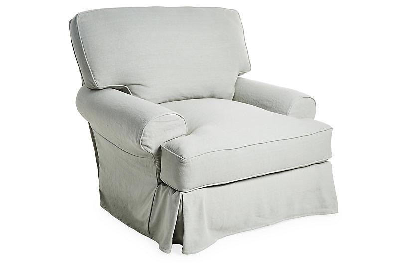 Comfy Slipcovered Club Chair, Seafoam Linen