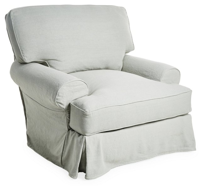 Comfy Linen Swivel Chair, Silver Sage