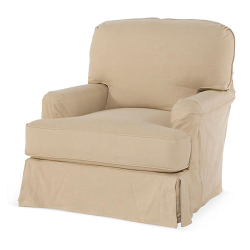 Dover Slipcovered Club Chair, Sand