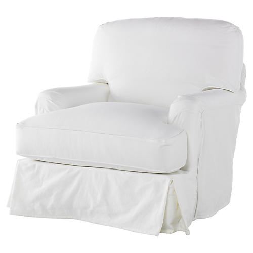 Dover Slipcovered Club Chair, White