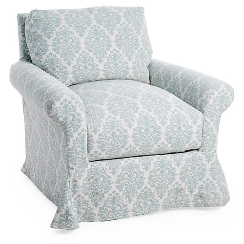 Sterling Slipcovered Club Chair, Blue Damask