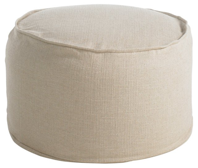 Crosby Round Pouf, Natural