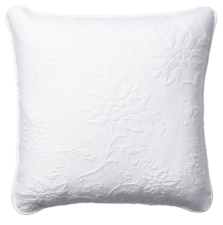 Nicolette 18x18 Cotton Pillow, White