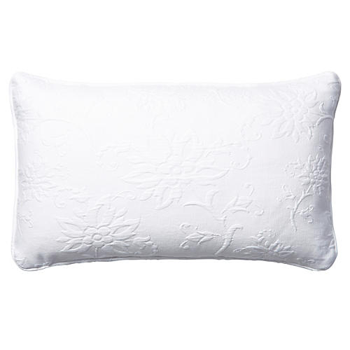 Nicolette 12x20 Cotton Pillow, White