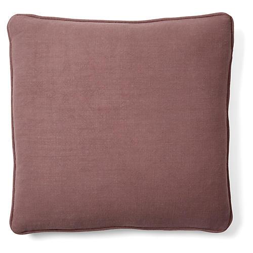 Gent 18x18 Linen-Blend Pillow, Plum