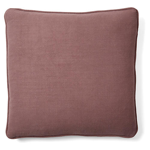 Gent 18x18 Linen-Blend Pillow, Plum