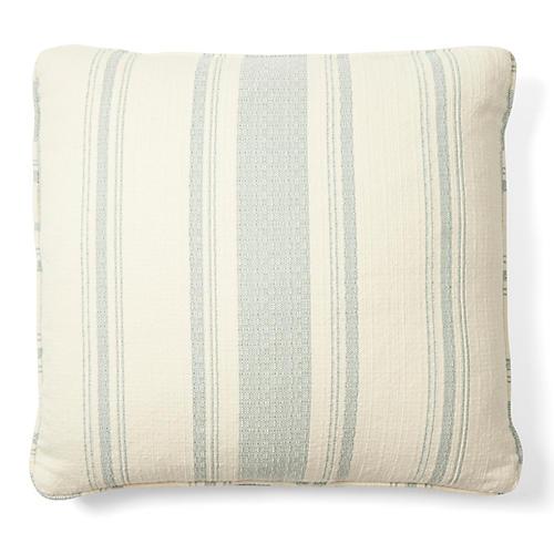 Sawyer 18x18 Cotton Pillow, Blue