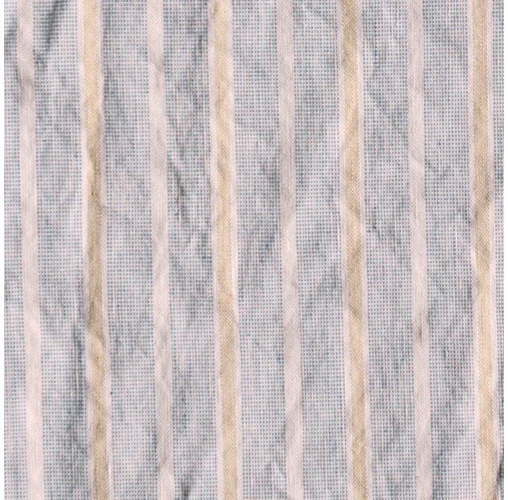Striped Linen-Blend Fabric, Blue