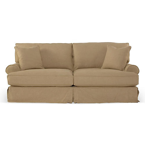 Comfy Slipcovered Sleeper Sofa, Flax Linen