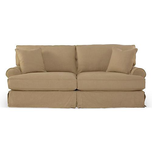 Comfy Slipcovered Sleeper Sofa, Flax Linen