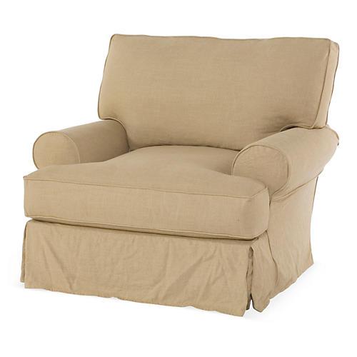 Comfy Swivel Club Chair, Flax Linen