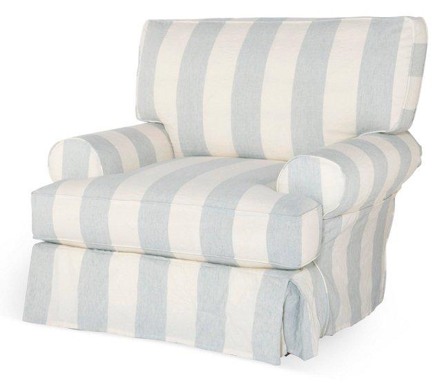 Comfy Chair, Blue/White
