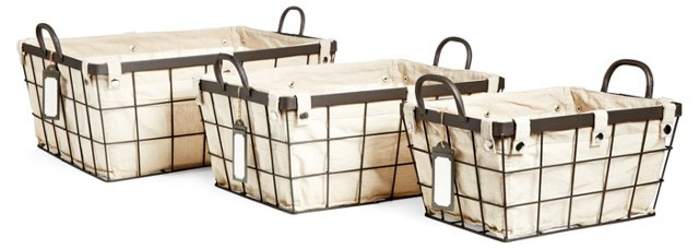 S/3 Metal Baskets with Liners