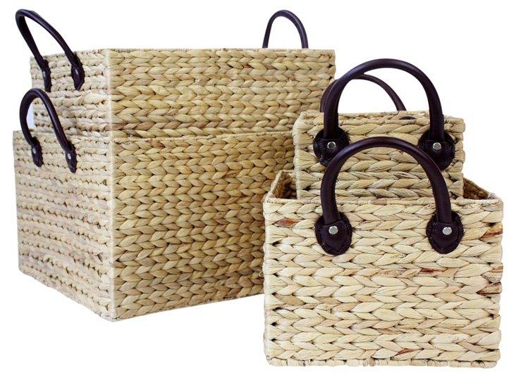 S/4 Rectangular Storage Baskets w/ Strap