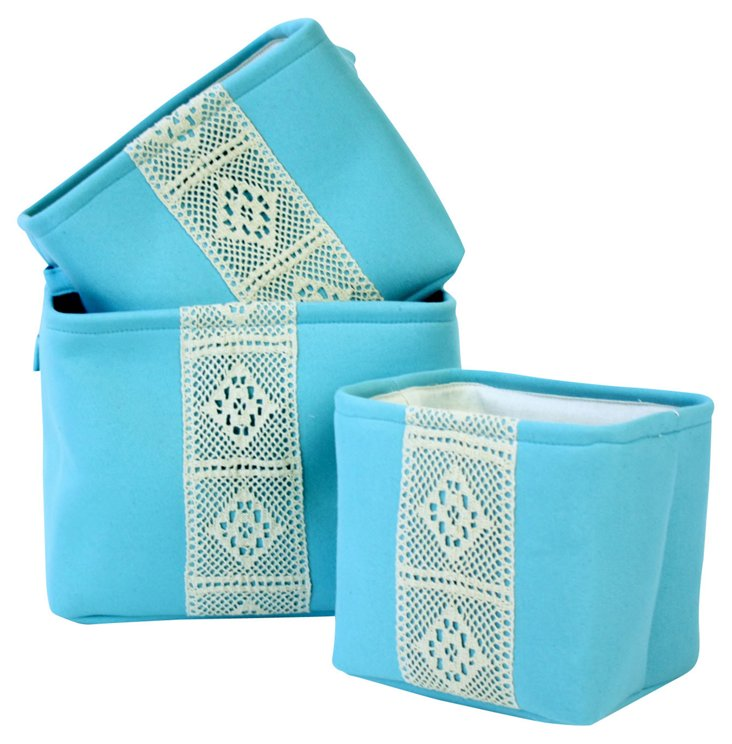 S/3 Canton Rectangular Baskets, Teal