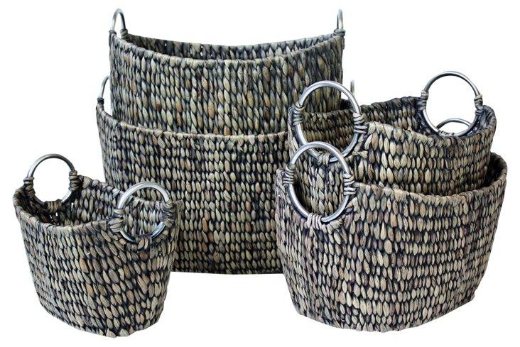 S/5 Antique Black Oval Baskets