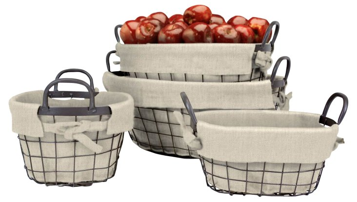 S/4 Industrial Oval Tapered Baskets