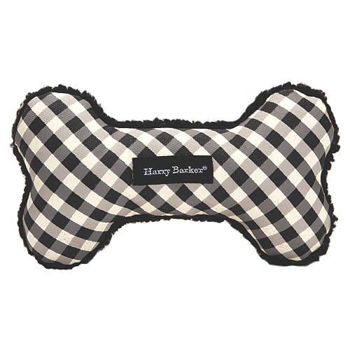 Gingham Bone Dog Toy, Black