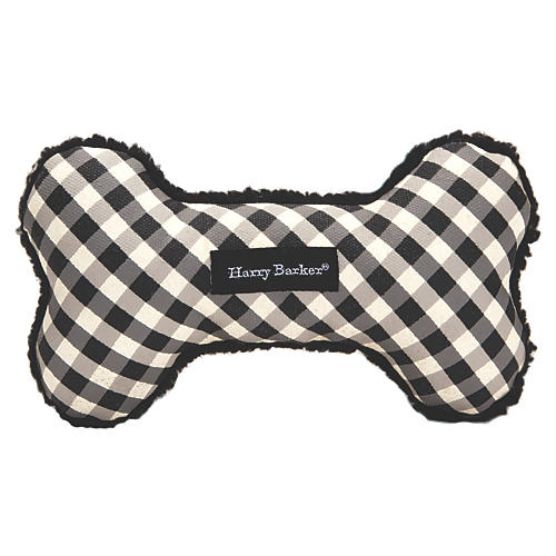 Gingham Bone Dog Toy, Black