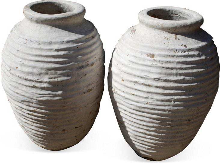 Antique Turned Pots, Pair