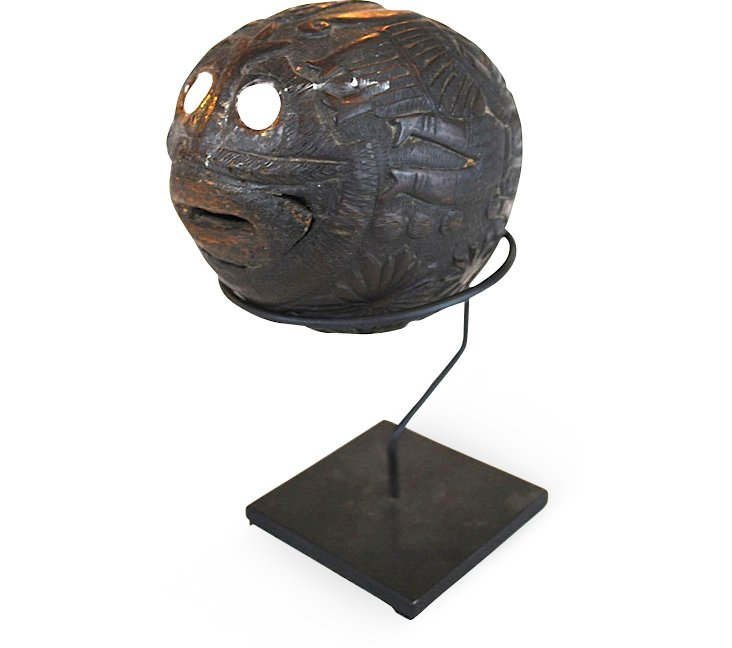 18th-C. Mexican Carved Coconut
