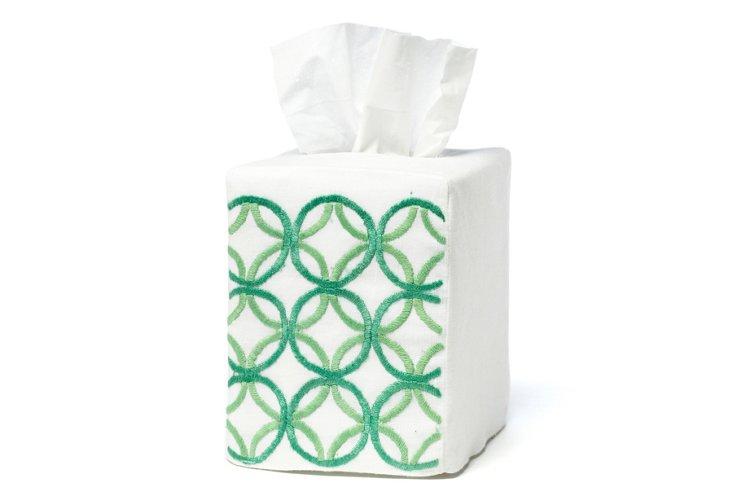 Circles Tissue Box Cover, Green