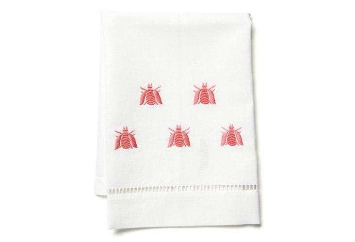 Bee Tip Towel, Coral