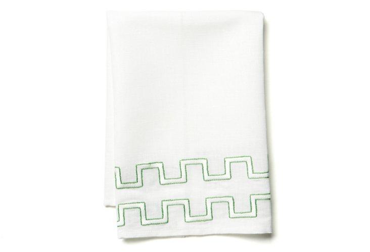 Basket Weave Tip Towel, Green/White