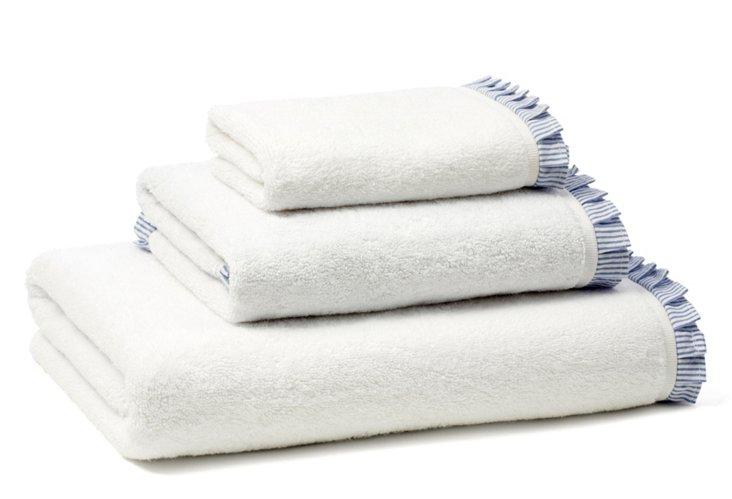 Seersucker Pleated Terry Towel Set, Navy