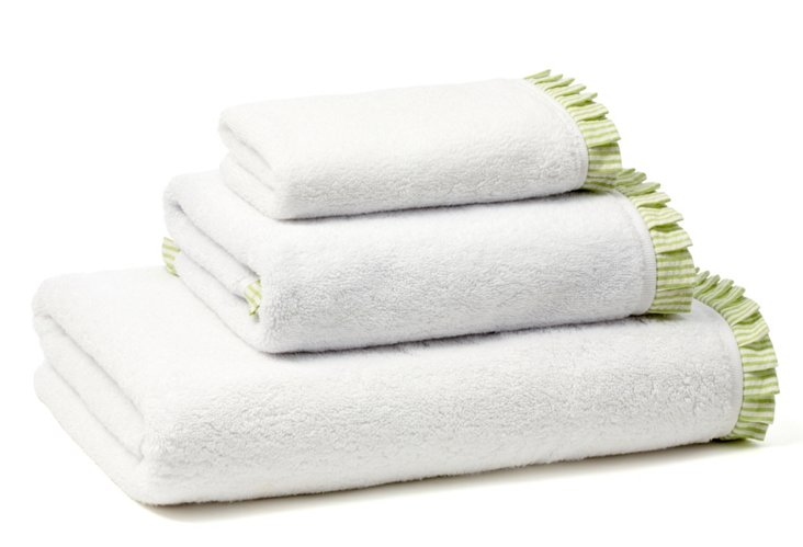 Seersucker Pleated Terry Towel Set, Mint