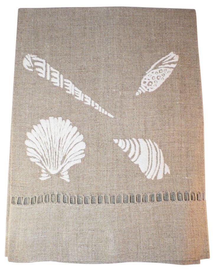 Beach Comber Tip Towel, White/Flax