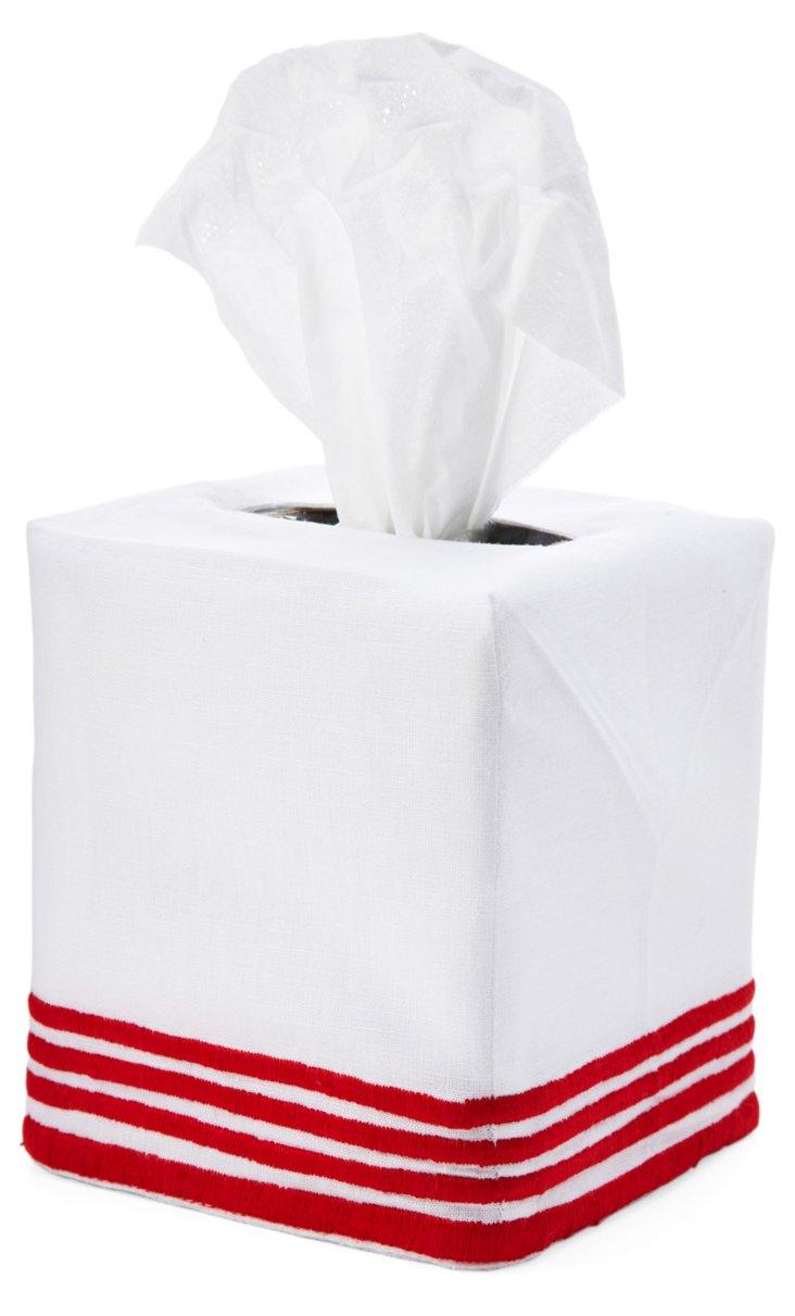 Striped Tissue Box Cover, Red