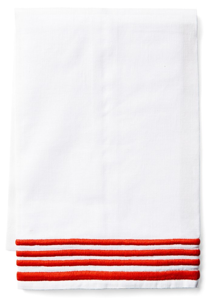 Striped Tip Towel, Red