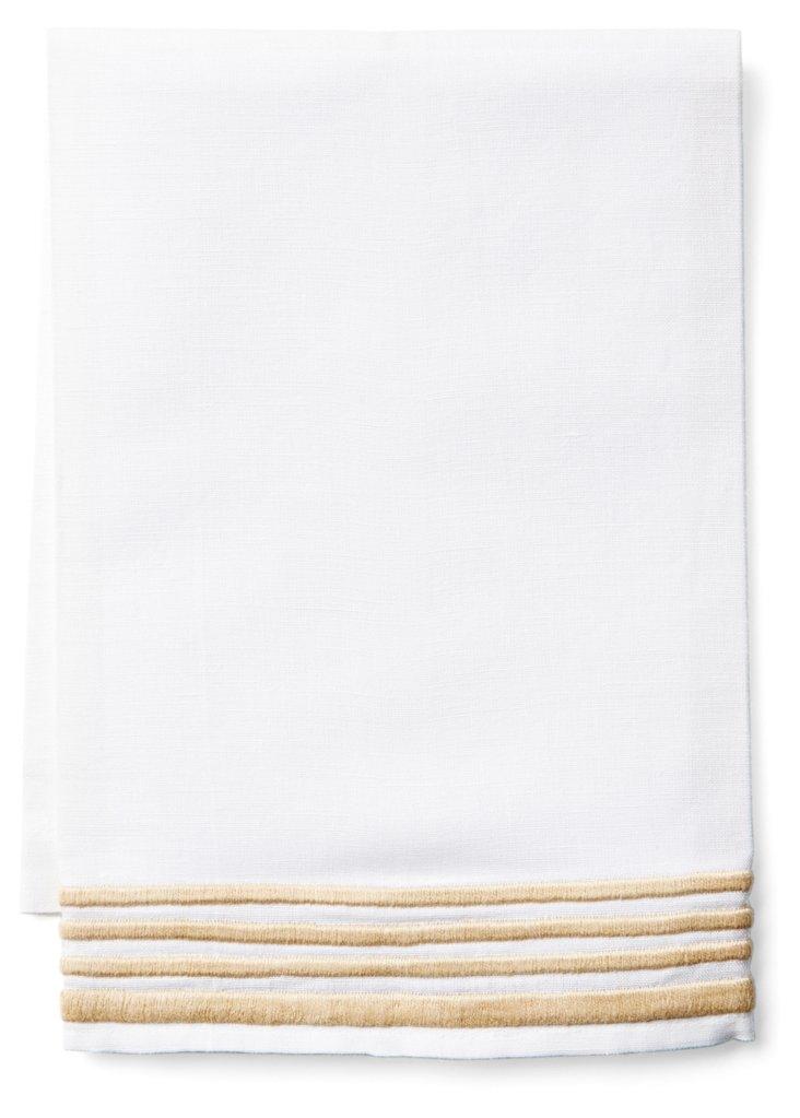 Striped Tip Towel, Khaki