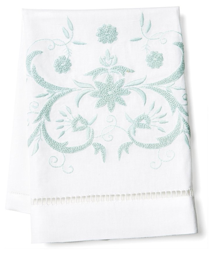 Winter Floral Tip Towel, Aqua