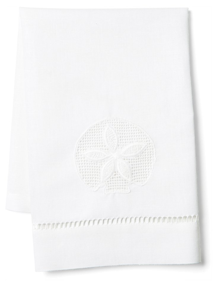 Sand Dollar Tip Towel, White