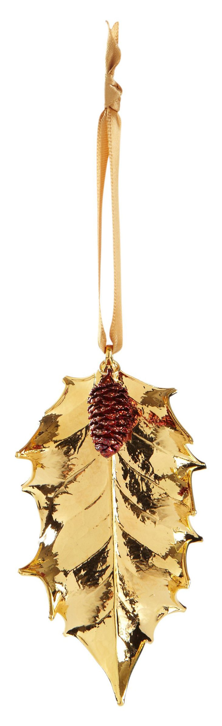 "4"" Holly Leaf w/ Pinecone Ornament, Gold"