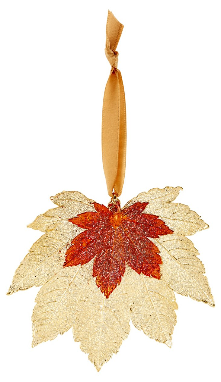 "4"" Full Leaflet Ornament, Gold/Copper"