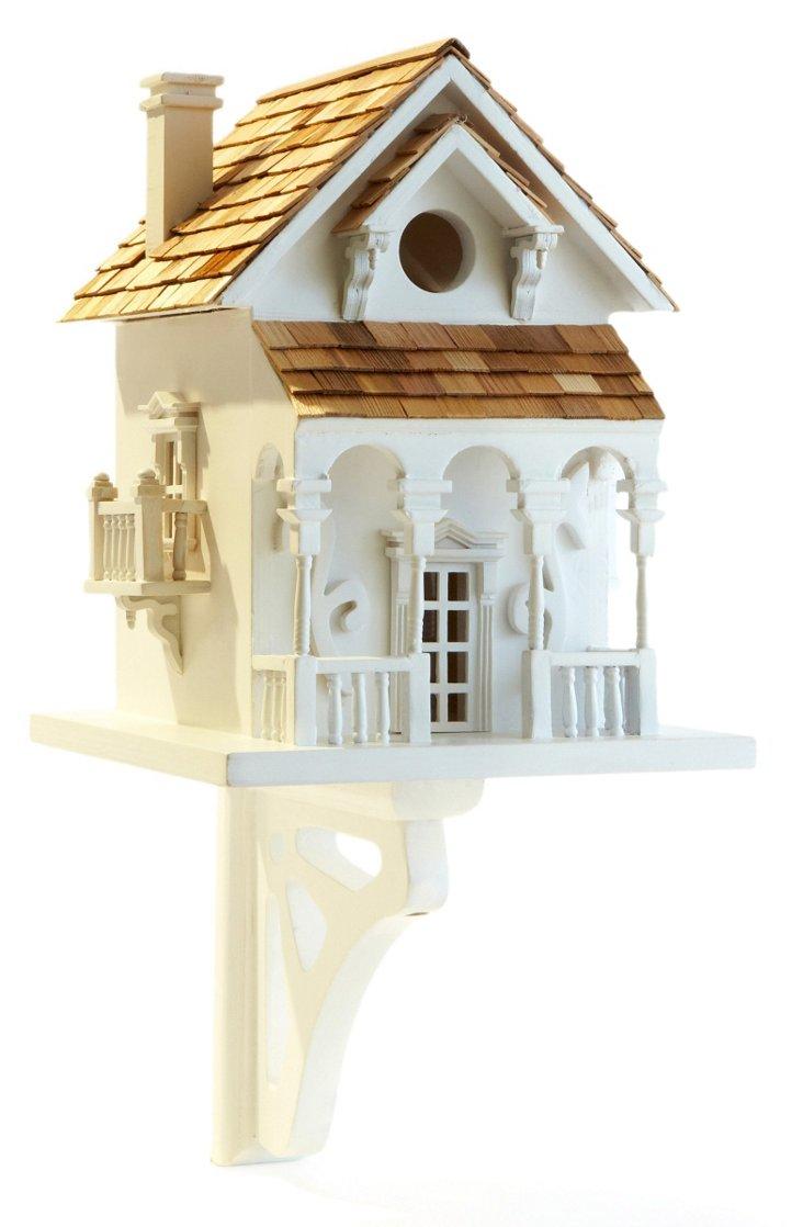 "11"" Honeymoon Cottage Birdhouse, White"