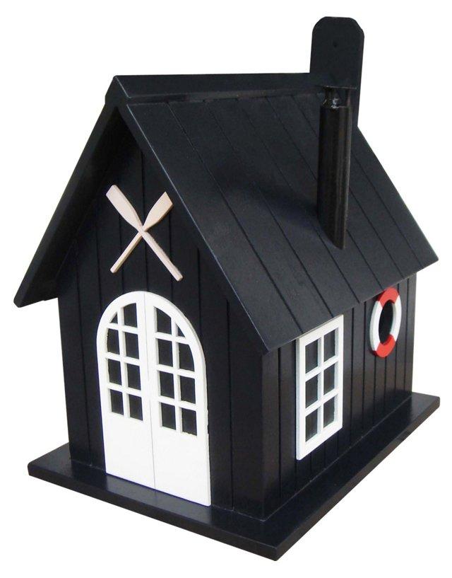 "11"" Boat House Birdhouse, Black"