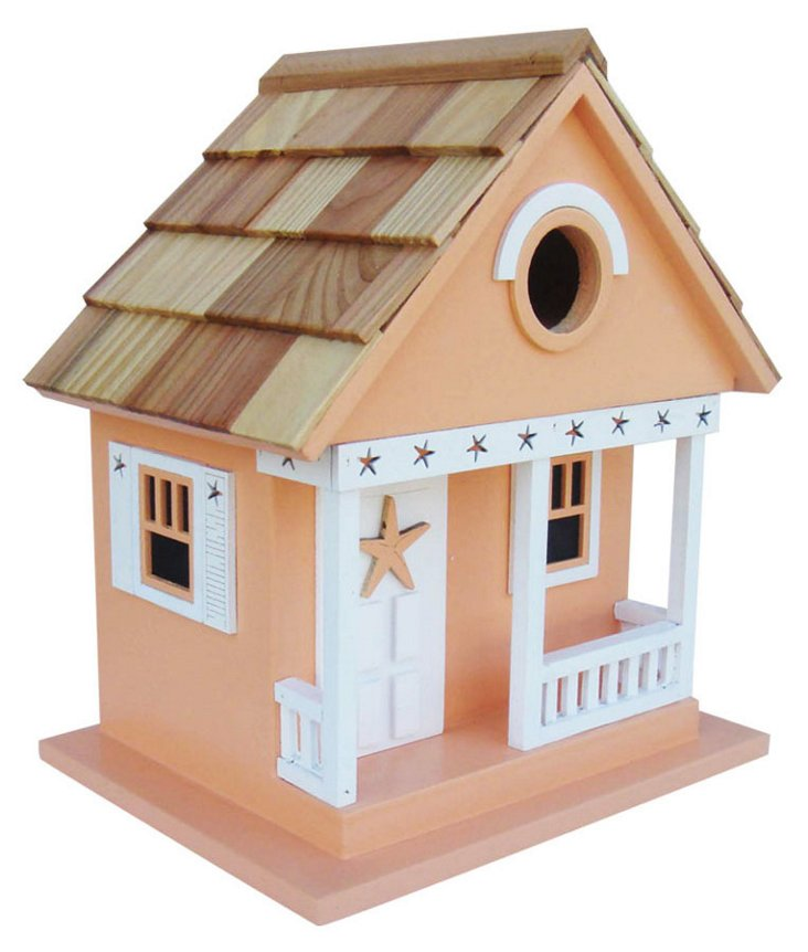 "9"" Starfish Cottage Birdhouse, Beige"