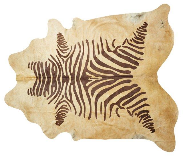"""6'x7'6"""" Stencil Zebra Hide, Brown/Beige"""