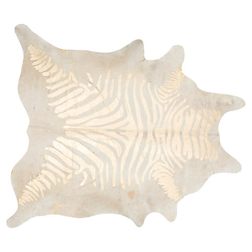 "6'x7'6"" Devore Zebra Hide, Beige/Gold"