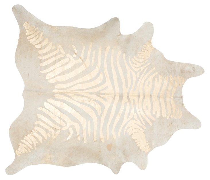 Large Devore Zebra Hide, Beige/Gold