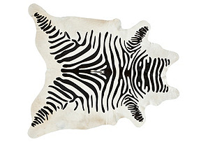 "6'x7'6"" Stenciled Hide, Black/Ivory"