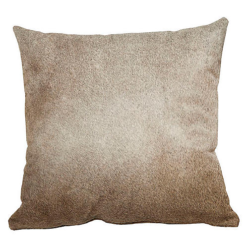 Full-Panel Hide Pillow, Gray/Tan